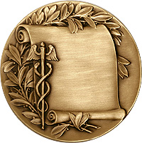 Cadaceus & Scroll with wings medal